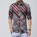 3XL,4XL,5XL,6XL,Man shirt, increase the size of youth stripe men's long sleeve shirt, coat lapels teenagers decorative pattern