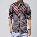 3XL, 4XL, 5XL, 6XL, camisa do Homem, aumentar o tamanho da juventude dos homens tarja camisa de manga longa, lapelas casaco adolescentes padrão decorativo