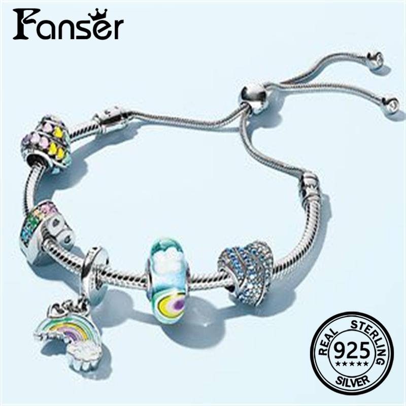 FANSER 2018 Last New Rainbow Series Pandor Bracelet Geniune 925 Sterling silver Diy Bead Women Snake Charm as picture ...