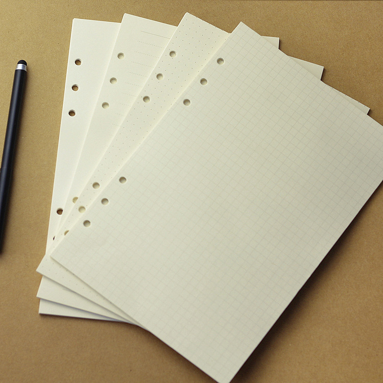 80 Sheets/Pack Loose Leaf Notebook Filler Paper Insert Refill 6 Holes A5 A6 Spiral Office & School Supplies 50 sheets loose leaf notebook refill filofax a5 a6 hardiron daily memos paper spiral business organizer planner filler papers
