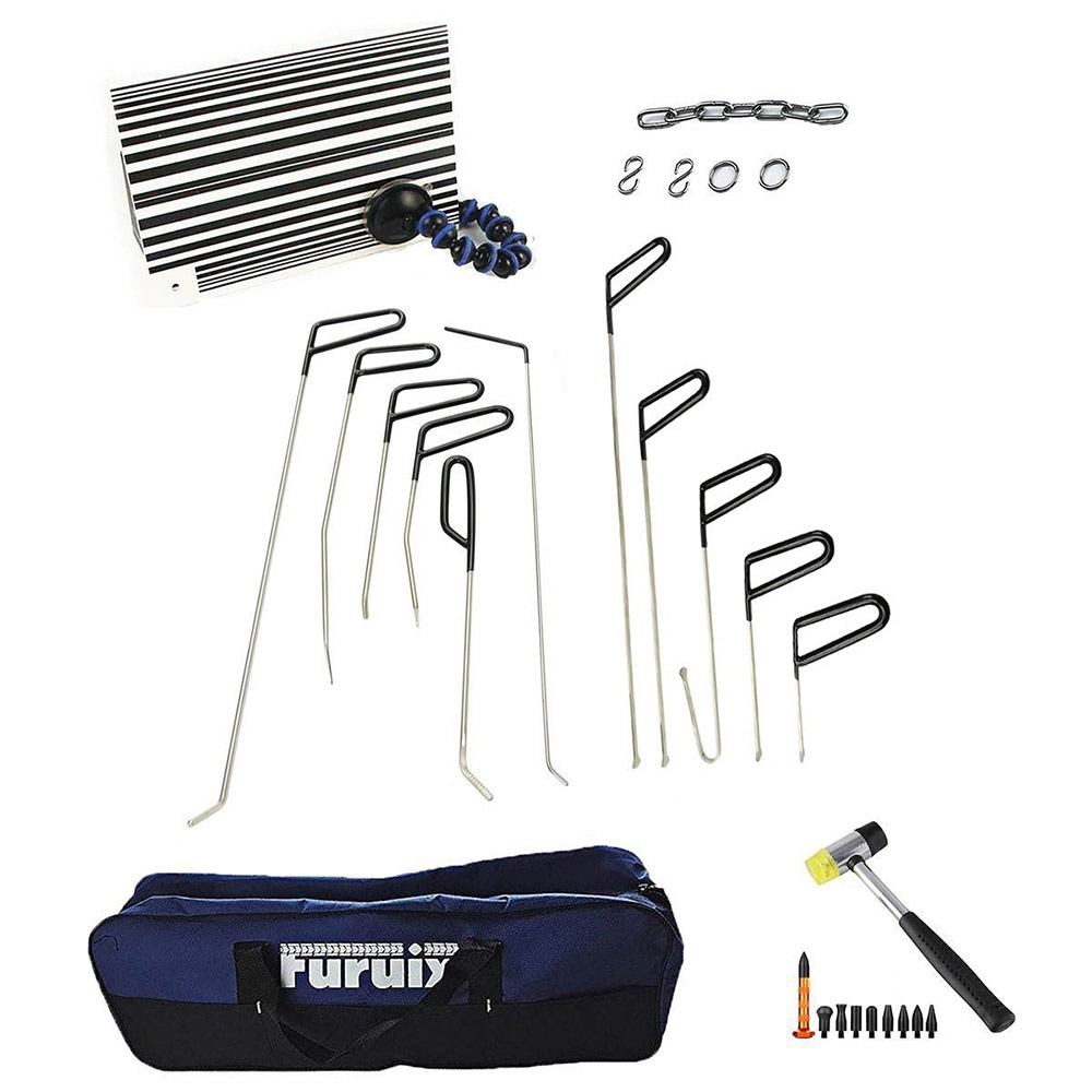 Furuix PDR Rod Set with Whale Tails PDR Tools Dent Puller Kit Paintless Dent Repair Tools Car Dent Remover With Hammer Tap Down