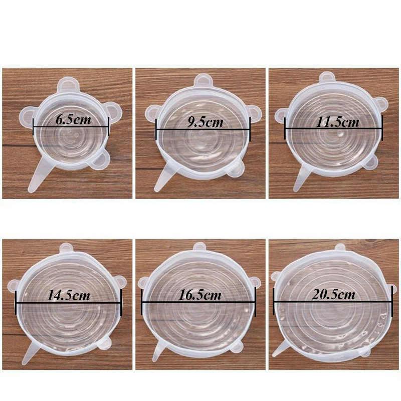 6 sztuk wielokrotnego użytku krzemu stretch pokrywkami uniwersalna pokrywa silikonowa bariera ochronna do żywności miska pokrywka garnka pokrywa silikonowa pan gotowanie kuchnia korki
