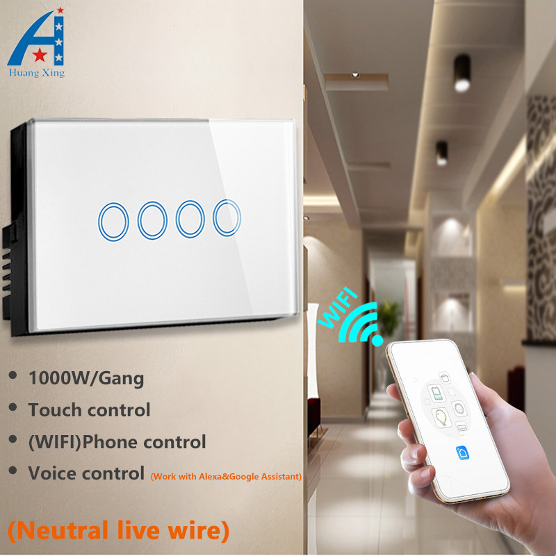 Commutateur d'application WIFI 4 gangs Standard US/AU 2.4 GHz, panneau en verre cristal trempé, AC 110-240 V, commutateur Assistant Compatible Alexa et Google