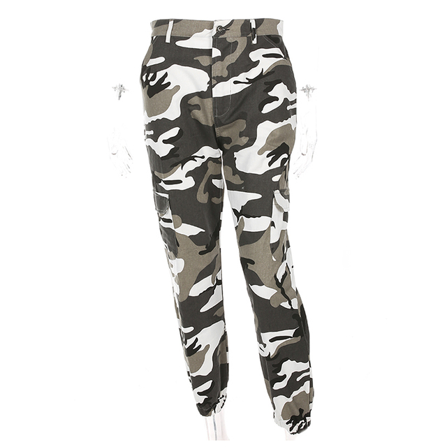 Weekeep Women High Waist Camouflage Pants Fashion Pantalon Femme Trouser Ankle-Length Sweatpants Cotton Streetwear Camo Pants