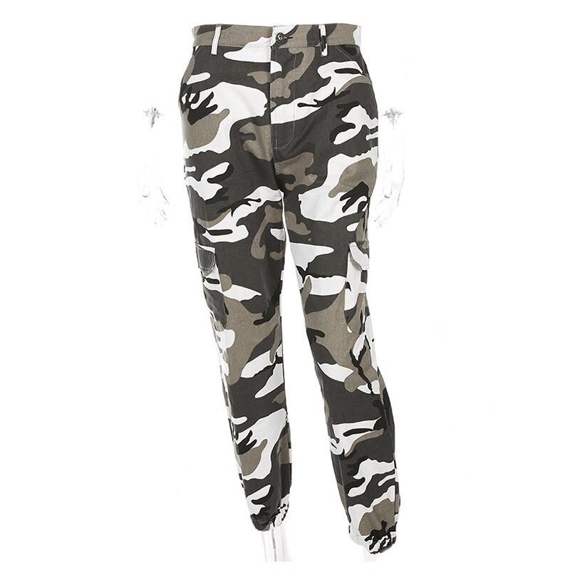 bf487bf634 Weekeep las mujeres de cintura alta pantalones de camuflaje de moda  Pantalon mujer pantalones de tobillo longitud pantalones de chándal de  algodón y ropa de ...