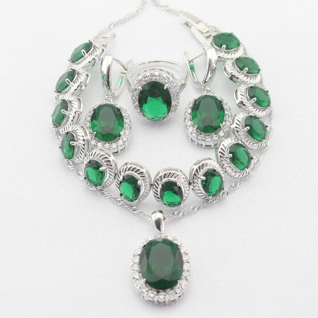 Prata Banhado A rodada Pingente de Colar Brincos Anéis pulseira Verde Esmeralda das Mulheres Imitado Conjuntos de Jóias de Natal & Presente do Dia Das Bruxas