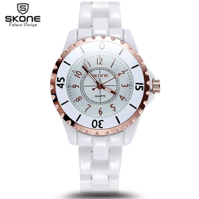 New Famous SKONE Brand Luxury Crystal Ceramic Dial Bracelet Quartz Wrist Watch Christmas Gift for Ladies Women Rose Gold Silver