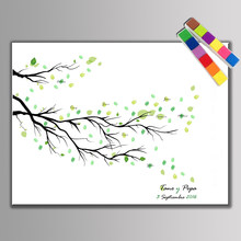 Fingerprint Signature Canvas Painting Green Branches Leave Wedding Gift Wedding Decoration Marriage Guestbook Supplies & Inkpad(China)
