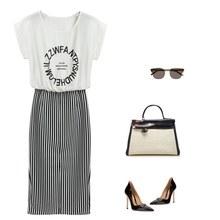 Nyári női kauzális hosszú ruha levélnyomó póló ruha vékony csíkos Maxi Bodycon ruha