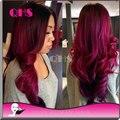 Горячая распродажа бразильский девственные природные волнистые полный парик Glueless красный полный фронта парики рианна мода парики бесплатная доставка