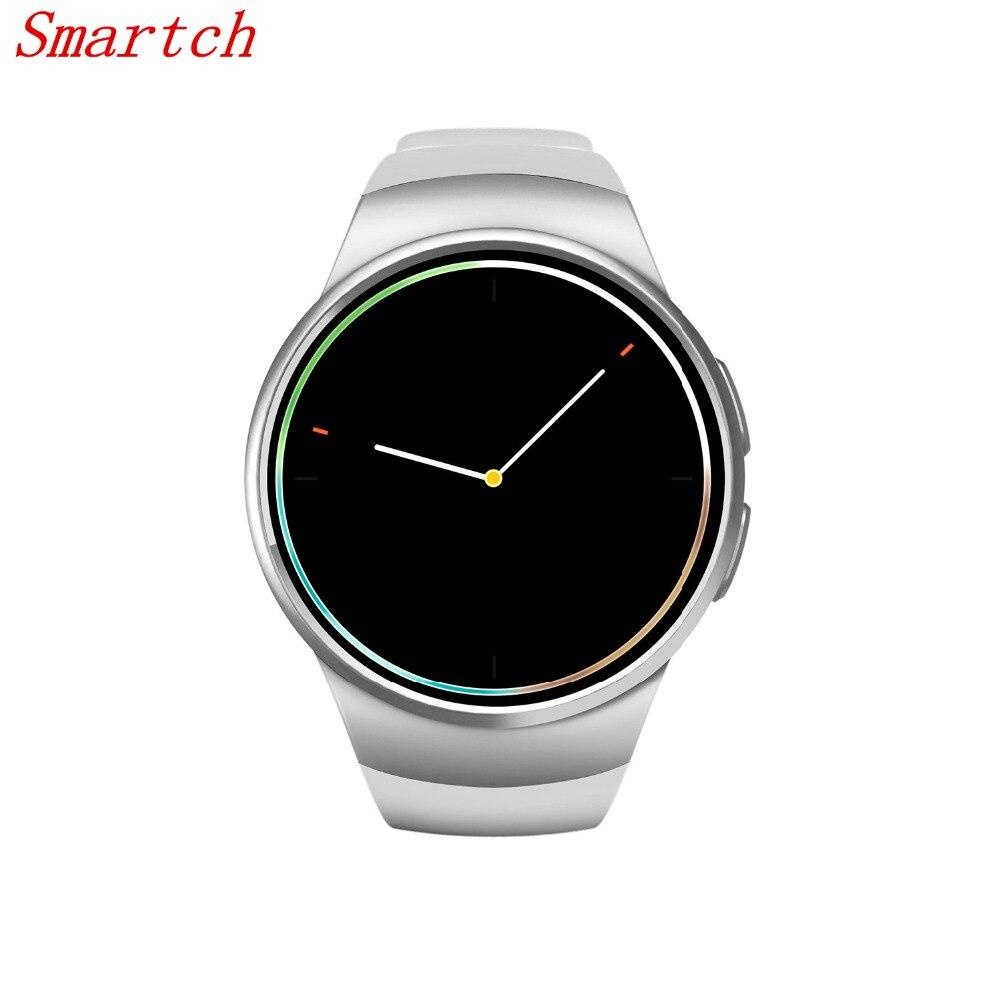 Smartch KW18 smart watch es sim MTK2502C smart watch 1.3 pouces Smartwatch argent/or/noir avec moniteur de fréquence cardiaque Rappel D'appel