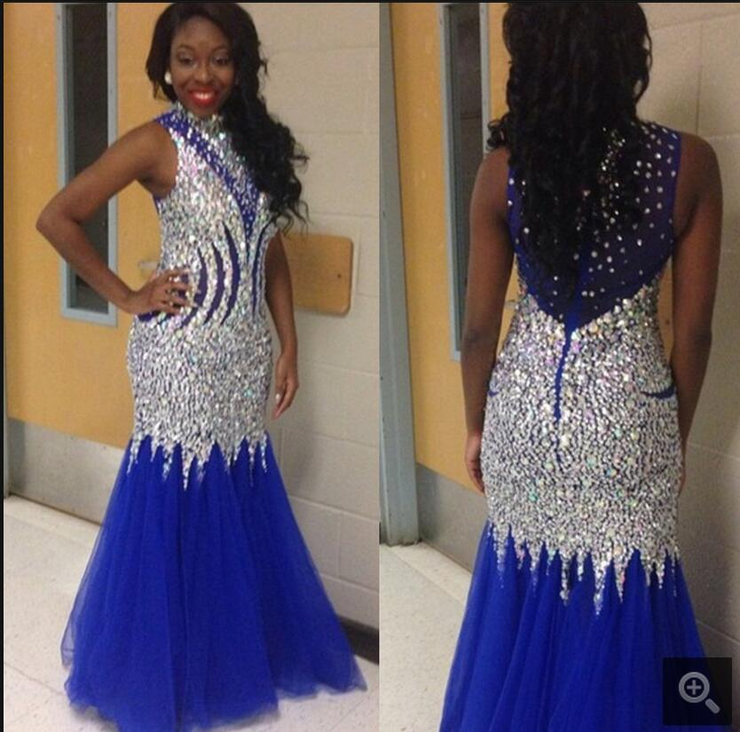 2016 fashion new royal blue heavily beading crystals   prom     dress   high neckline sheer back sexy   prom     dresses   best selling