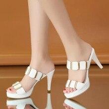 Deslizadores de la plataforma mujeres bling verano mulas zapatos Partido de  goma tacones altos diapositivas blanco f6575e96816c