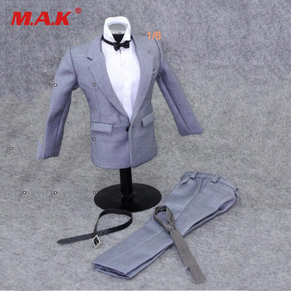 1:6 Scale Model Gray Suit Set Clothing Accessories For 12 Action Figure Male Nude Body Model Toys image