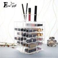 Exquisite Acrílico Rotativa caixa de batom caso De Luxo Caixa De Exibição De Armazenamento Organizador Cosmetic Makeup brushes titular Estande Rack de presente