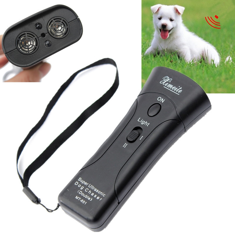 High Quality Newest Ultrasonic Dog Chaser Stop Aggressive Animal Attacks Repeller w/ Flashlight ...