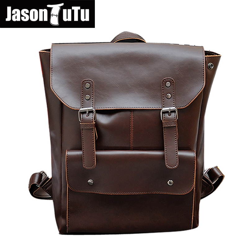 JASON TUTU men backpack vintage leather backpack big size travel bag casual laptop backpack school bags for teenagers girls B145 roblox game casual backpack for teenagers kids boys children student school bags travel shoulder bag unisex laptop bags