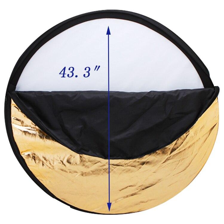 3 ensembles 43.3 pouces 110 cm 5 en 1 blanc argent or noir et souple disque photographie réflecteur Portable pliable lumière ronde - 3