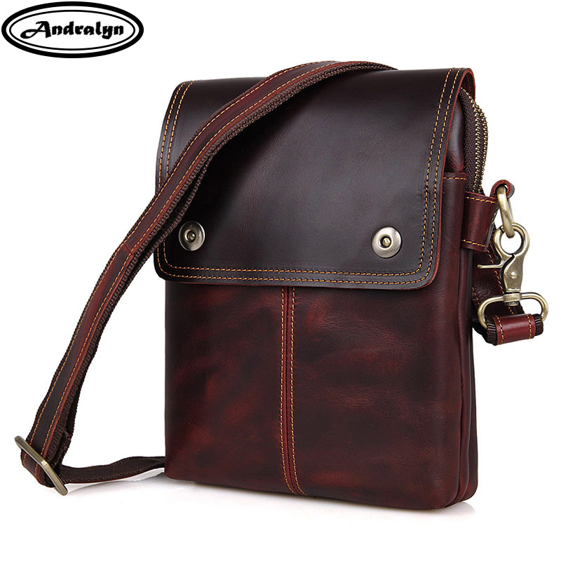Andralyn 2018 Winter New Vintage Crazy Horse Leather Shoulder Bags for Men Genuine Leather Men's Messenger Bag Cross Body Bag vintage crazy house leather men s cross body bag 100% natural cowskin shoulder bag genuine leather men messenger bags