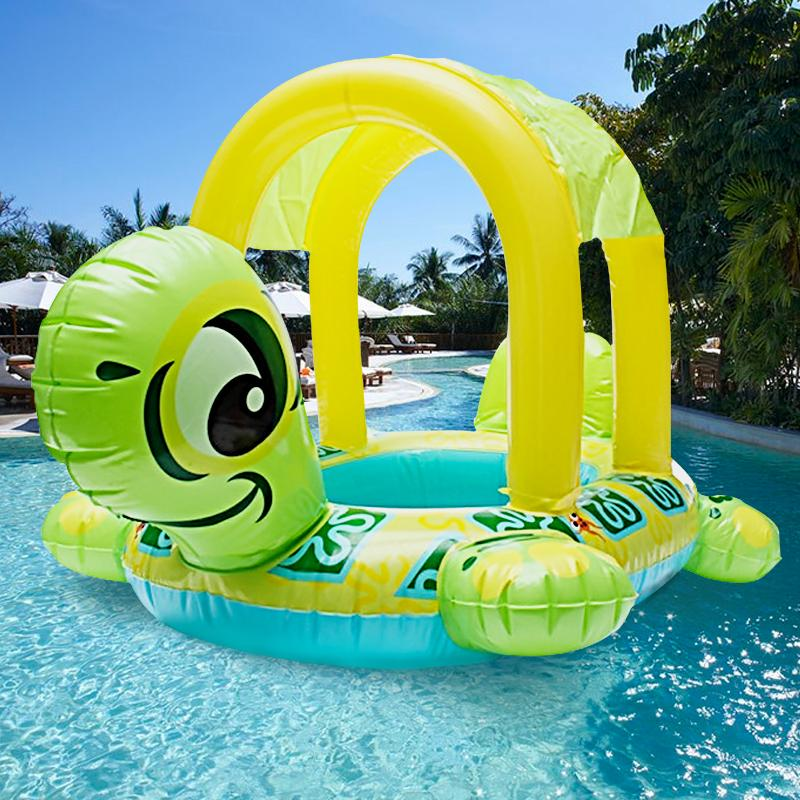 Baby Kids Inflatable Swimming Ring Float Sear Turtle Shape Sun Shade Water Swim Pool Rings For Kid Children Adults Water Toys