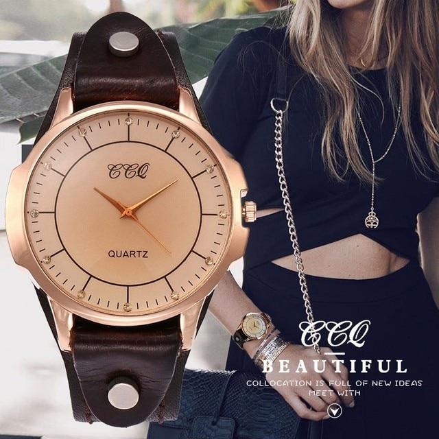 CCQ Brand Unisex Vintage Cow Leather Simple Bracelet Watch Women Men Casual Leat