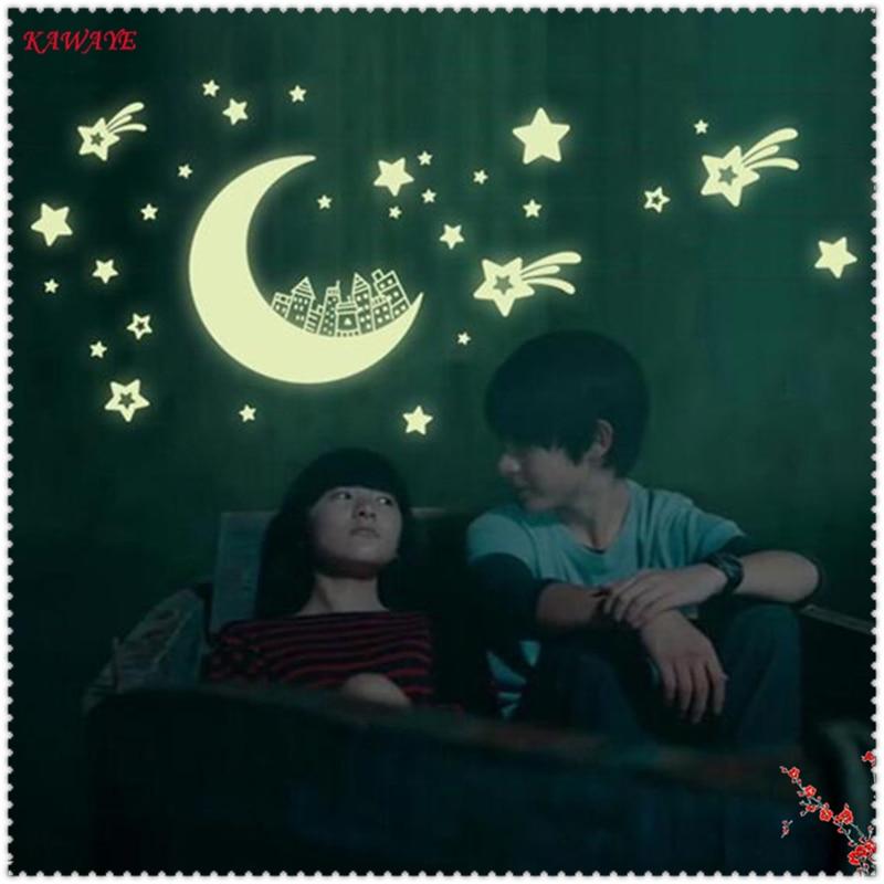 1Set Luminous 3D Cartoon Starry Sky Wall Stickers Fluorescent Sticker Child Bedroom Decoration Fluorescent Wall Paster 6ZDZ272
