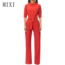 MIXI Ladies Elegant Jumpsuit Half Sleeve Wide Leg Pants Long Rompers Womens With Belt Casual Office Work Party Overalls