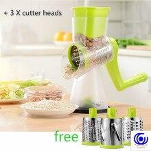цены на 3 Blades green Vegetable Cutter cutting Potato chopping Manual machine Round Mandoline Slicer Red 5 heads slices Gadget peeler  в интернет-магазинах