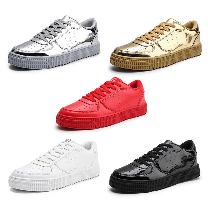 64892cd695 EOFK Women Gold Sneakers Spring Autumn Fashion Golden Shiny Glossy Woman  Vulcanize Shoes Plus Size 36 - 47 Casual Shoes Women