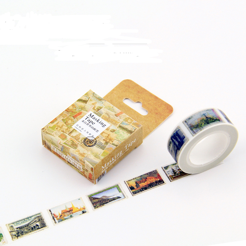 цены DIY Vintage postage stamp Size 15 mm paper japanese washi tape decorative adhesive tapes 7m /scrapbooking/School Supplies 27