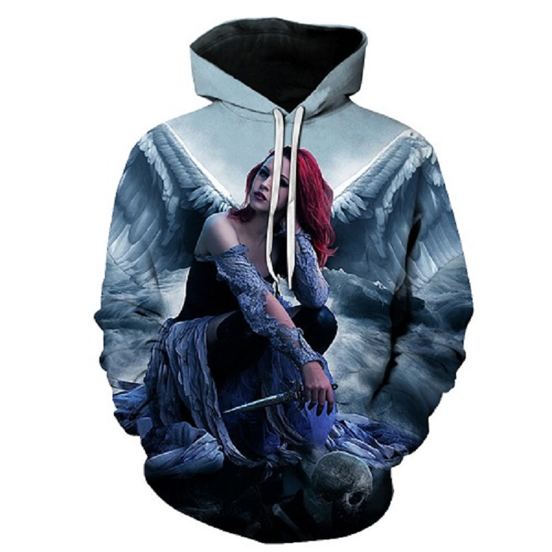 New angel Hoodies Men 3d Sweatshirt Hooded Anime Pullover Quality Brand Hoodies Harajuku Printed Fashion Tracksuit Boy Jackets