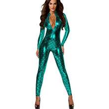 58c1e40c88168 AIIOU Sexy Women Jumpsuit Metallic Fish Scales Mermaid Catsuit Bodysuit  Costume Zipper Front Catsuit Leather Tight