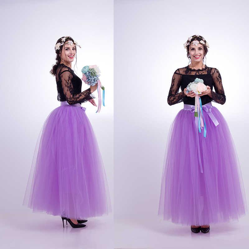 7 שכבות מקסי ארוך נשים חצאיות גבירותיי טול חצאית קרסול-אורך הלבשה חתונה כדור שמלת Faldas Lotita נהיגה לראשונה חצאית Saia longa
