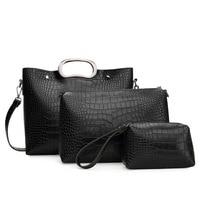 Crocodile Grain Lady Handbag 3 Pcs Composite Bags Set Women Crossbody Shoulder Bag Wallet Clutch Purse
