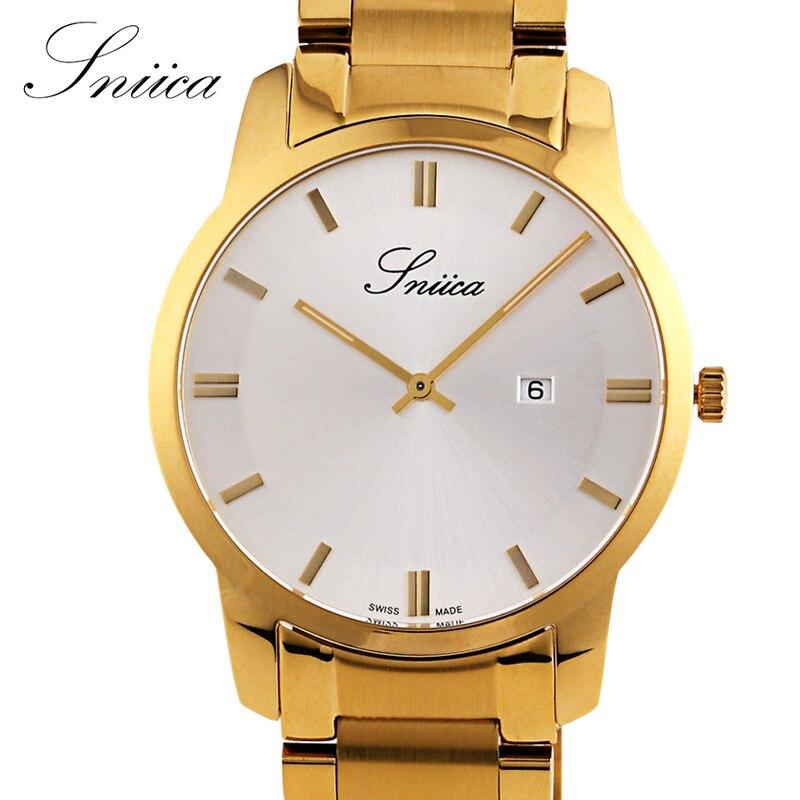 ФОТО SNIICA Quartz watch men Swiss movement Wristwatch steel Watchband 30m Waterproof gold watches reloj hombre with gift box SN2205