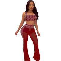 Diamonds Rhinestone Sheer Mesh Two Piece Sets Women Strapless Crop Top and Flare Pants Sexy Sparkly Nightclub 2 Piece Outfits