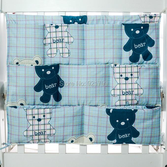1PC Cartoon Cotton Baby Bed Hanging Storage Bag Newborn Crib  Organizer Toy Diaper Pocket for Babies Bedding Set 24*20