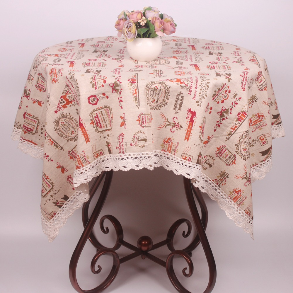 new beige cotton linen merry christmas tablecloth decoration lace christmas table cover cloth for square rectangular tables - Square Christmas Tablecloth