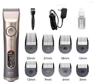 Image 3 - プロフェッショナル充電式バリカン理髪液晶電気髪トリマーチタンカッター毛切断機ノズル 3 25 ミリメートル