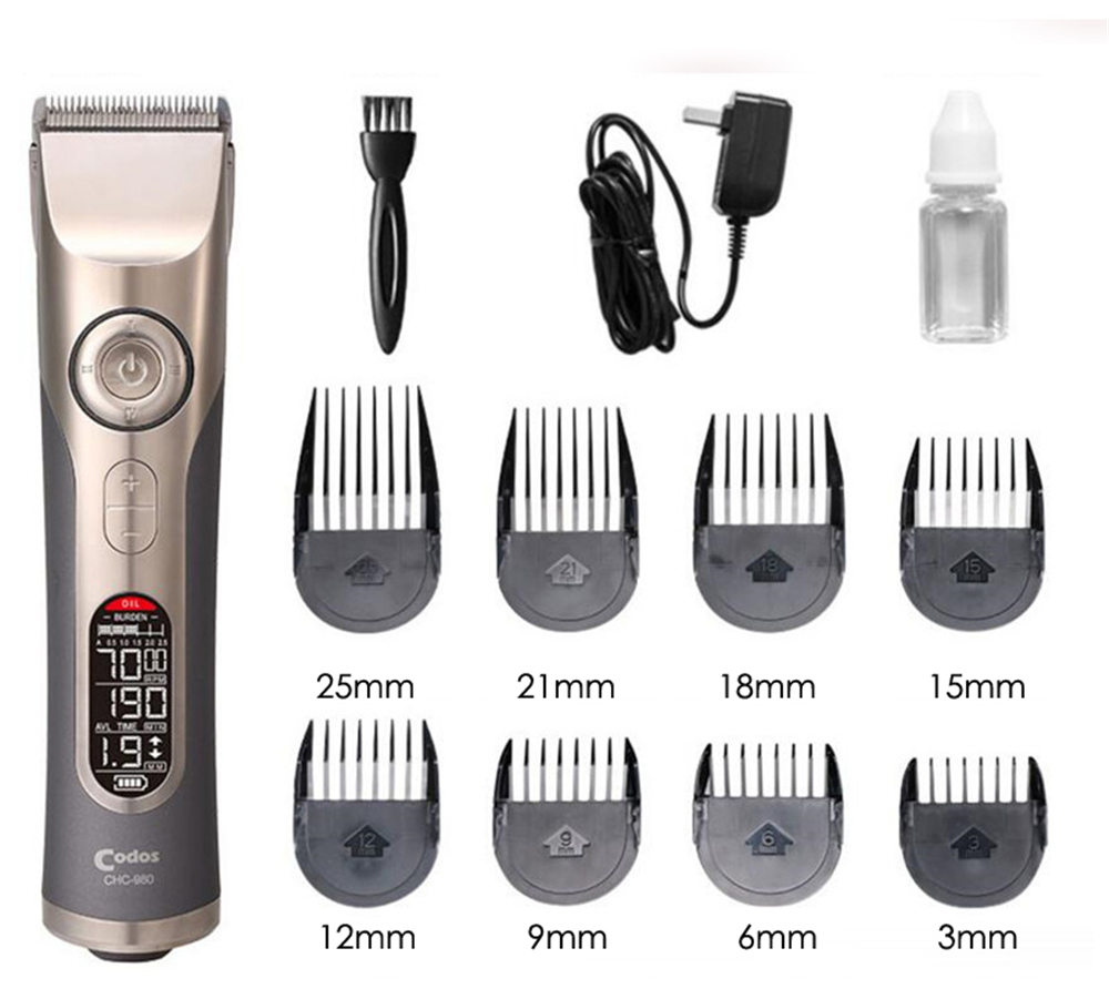 Image 3 - Professional Rechargeable Hair Clipper for Barber LCD Electric Hair Trimmer Titanium Cutter Hair Cutting Machine Nozzles 3 25mm-in Hair Trimmers from Home Appliances