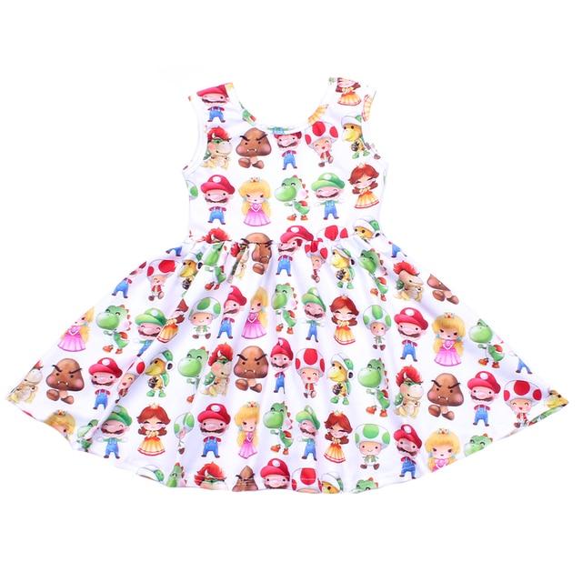 فستان صيفي بدون أكمام للفتيات ، فستان برسوم كرتونية للأطفال ، فستان برسوم دائرية ، فساتين حفلات للأميرات الصغيرة من الحرير والحليب الناعم للبيع بالجملة