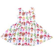 קיץ בנות ללא שרוולים שמלת ילדי Cartoon לסובב שמלת רך חלב משי פעוט נסיכת מסיבת לסובב שמלות Wholesales