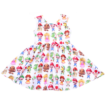 Summer Girls Sleeveless Dress Children Cartoon Twirl Dress Soft Milk Silk Toddler Princess Party Twirl Dresses Wholesales