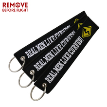 3PCS Black Embroidery Keychain for Motorcycle Cars llaveros Key Ring Real Men Like Curves OEM Fobs Car Chaveiro Bijoux