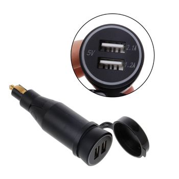 DIN3.1A Motorcycle Waterproof Power Adapter Dual USB Charger With Cigarette Lighter For BMW Hella DIN Motor