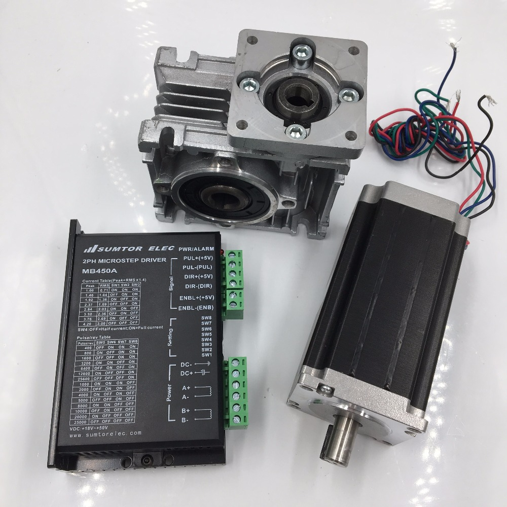 Nema 23 2ph Stepper Motor L76mm 3A 4Lead + 50:1 57mm Worm Gearbox Speed Reducer& Driver Kit for CNC Machines