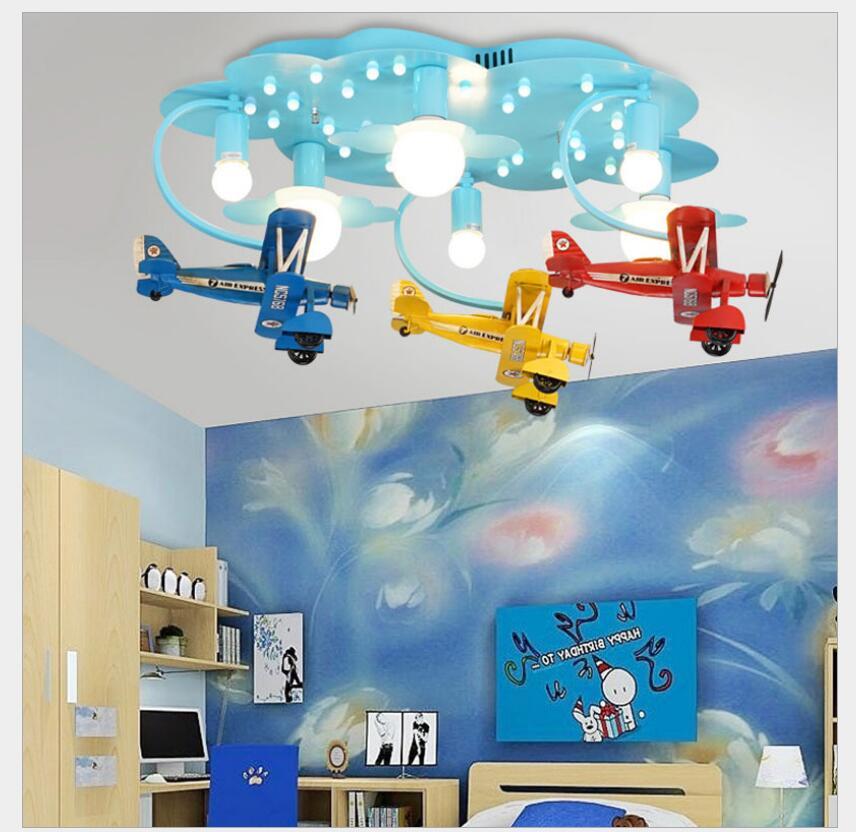Nouveauté LED enfants lumières enfants plafonnier avion Design Decora chambre lumière E27 110 V 220 V télécommande incluse