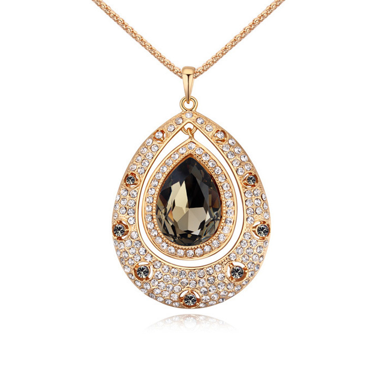 60655b0a5ae9 Largo collar vintage teardrop colgante mujeres moda joyería cadena suéter  cristal austriaco joyería 3 color moda bijoux regalo