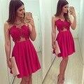 2017 New Cocktail Dresses Appliques Short Mini Cocktail Dress Summer Vestido De Festa Curto Fuchsia Prom Party Gowns JW25