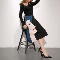 נשים אלגנטיות עיצוב Brife קובע שחור שרוול ארוך חולצת טריקו אדם צבעים מודפסים אופנה ללבוש 2017 בגדי נשים חדשים RWS175001